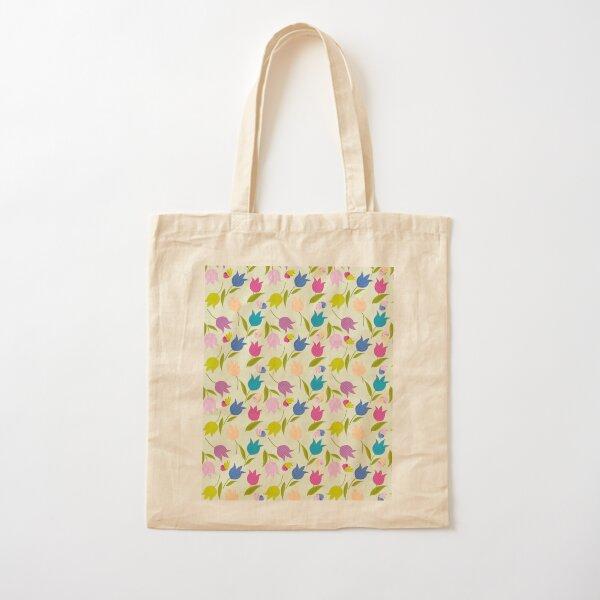Decorative Tulips Pattern Cotton Tote Bag