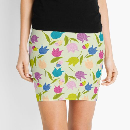Decorative Tulips Pattern Mini Skirt