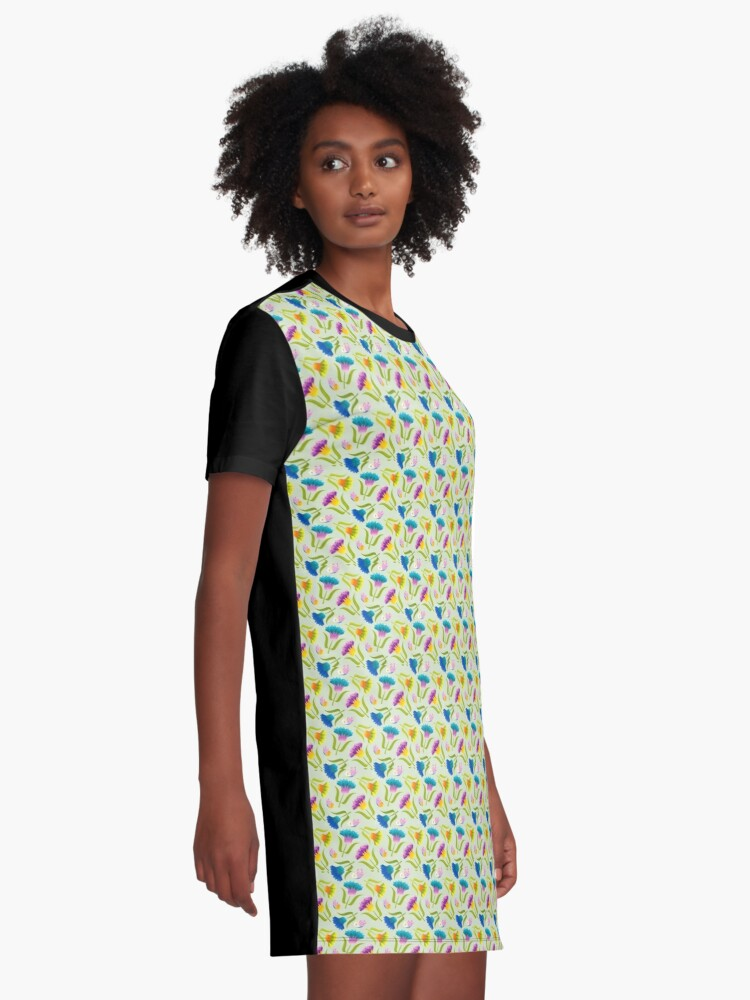 Alternate view of Beautiful Floral Pattern Graphic T-Shirt Dress