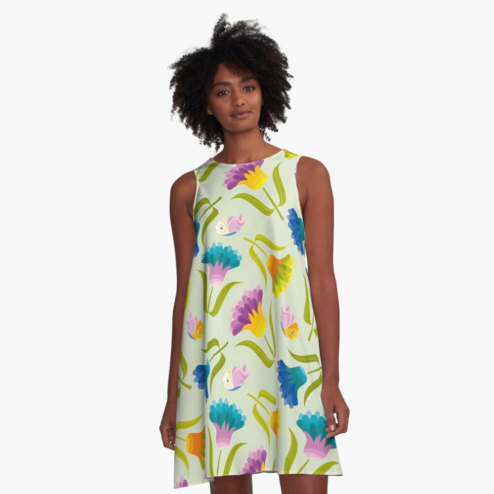 Beautiful Floral Pattern A-Line Dress