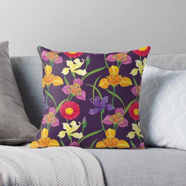 Tigridia, Iris, Daisy Pattern Throw Pillow
