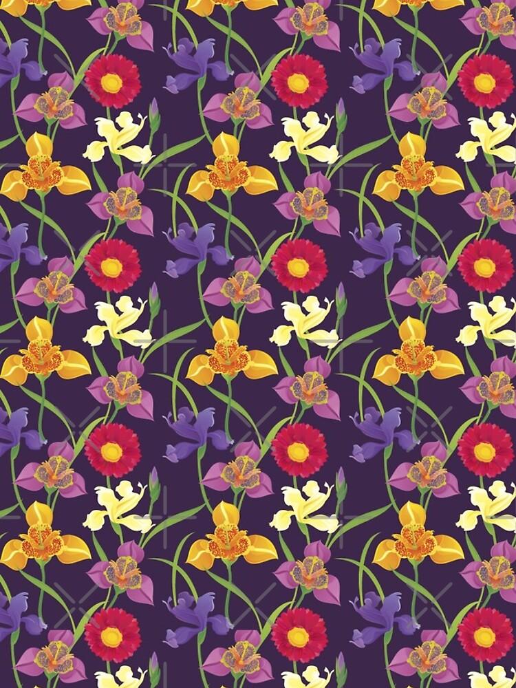 Tigridia, Iris, Daisy Pattern by rusanovska