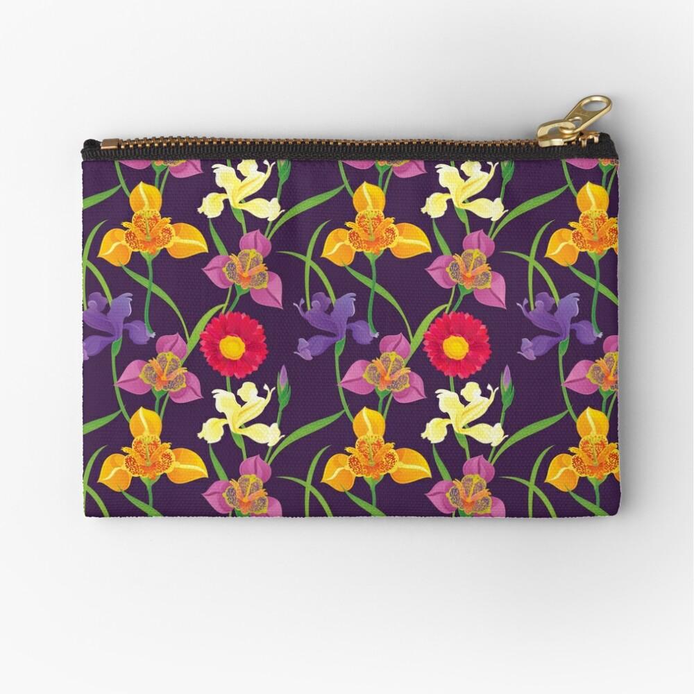Tigridia, Iris, Daisy Pattern Zipper Pouch