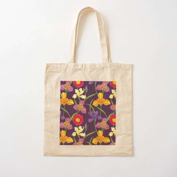 Tigridia, Iris, Daisy Pattern Cotton Tote Bag
