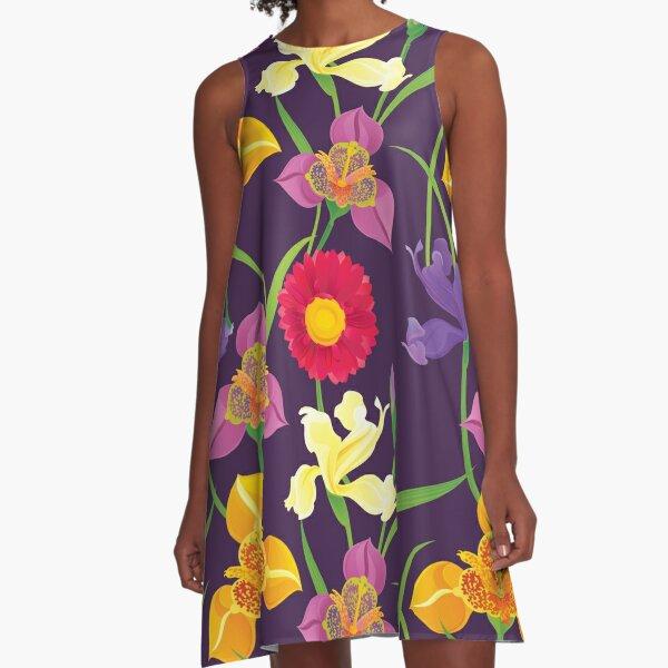 Tigridia, Iris, Daisy Pattern A-Line Dress