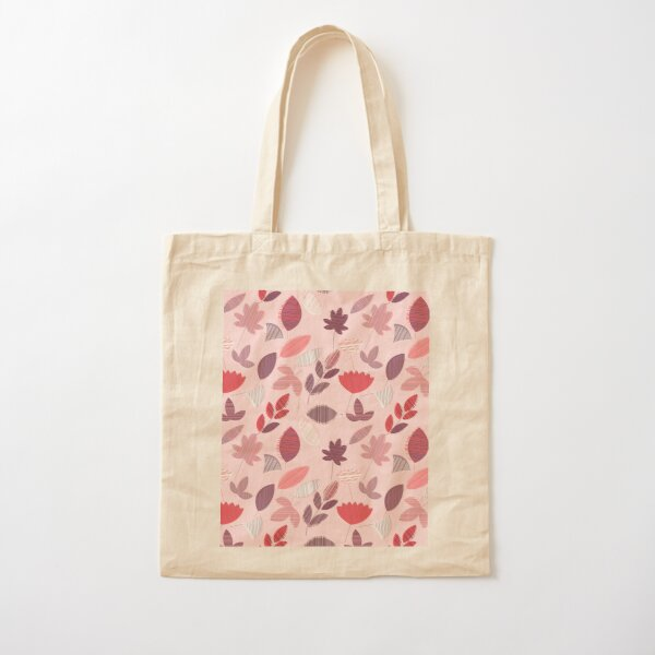 Abstract Pink Florar Pattern  Cotton Tote Bag