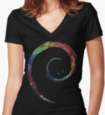 Colorful Debian Women's Fitted V-Neck T-Shirt