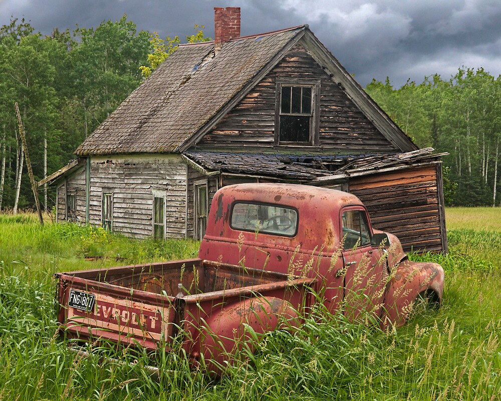 old abandoned homestead and truck by randall nyhof redbubble. Black Bedroom Furniture Sets. Home Design Ideas