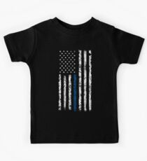 Blue Line (White) V2 Vertical Kids Tee