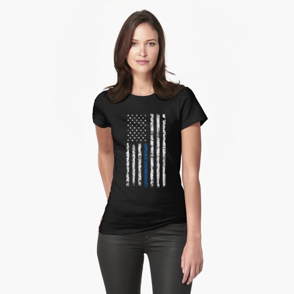 Blue Line (White) V2 Vertical Fitted T-Shirt