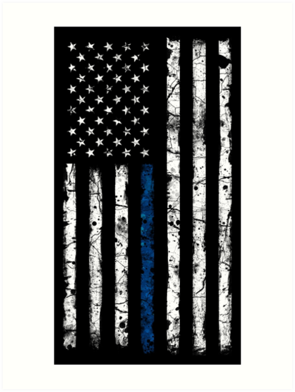 Blue Line White V2 Vertical Art Prints By