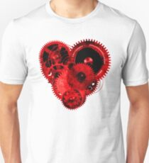 Steampunk Gears Red Heart Unisex T-Shirt