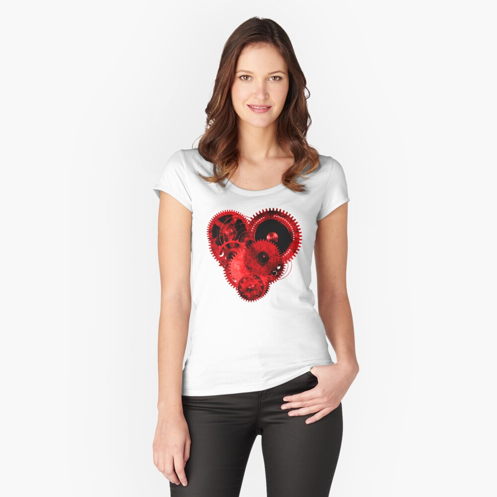Steampunk Gears Red Heart Fitted Scoop T-Shirt