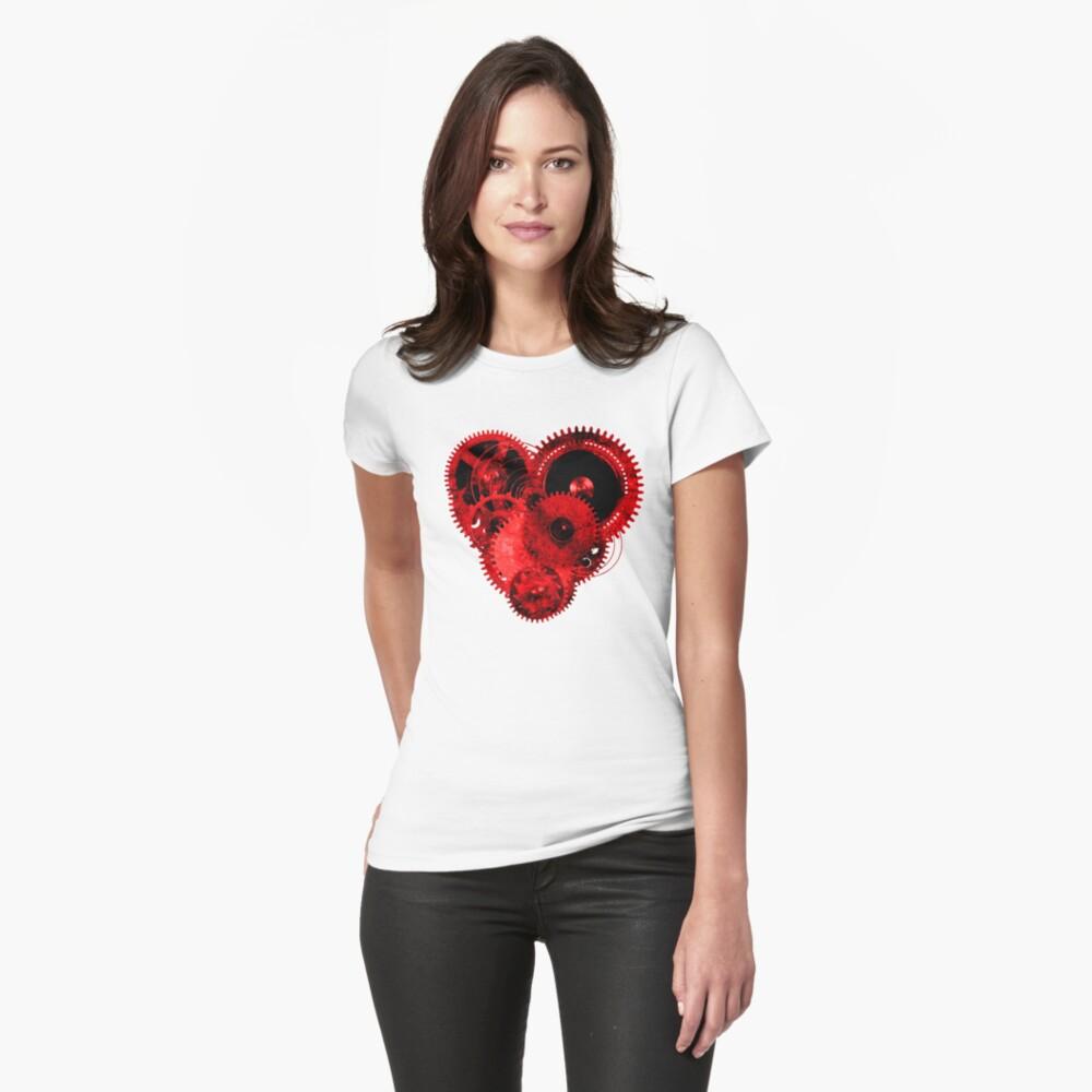 Steampunk Gears Red Heart Womens T-Shirt Front