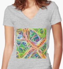 Neural network motif Fitted V-Neck T-Shirt