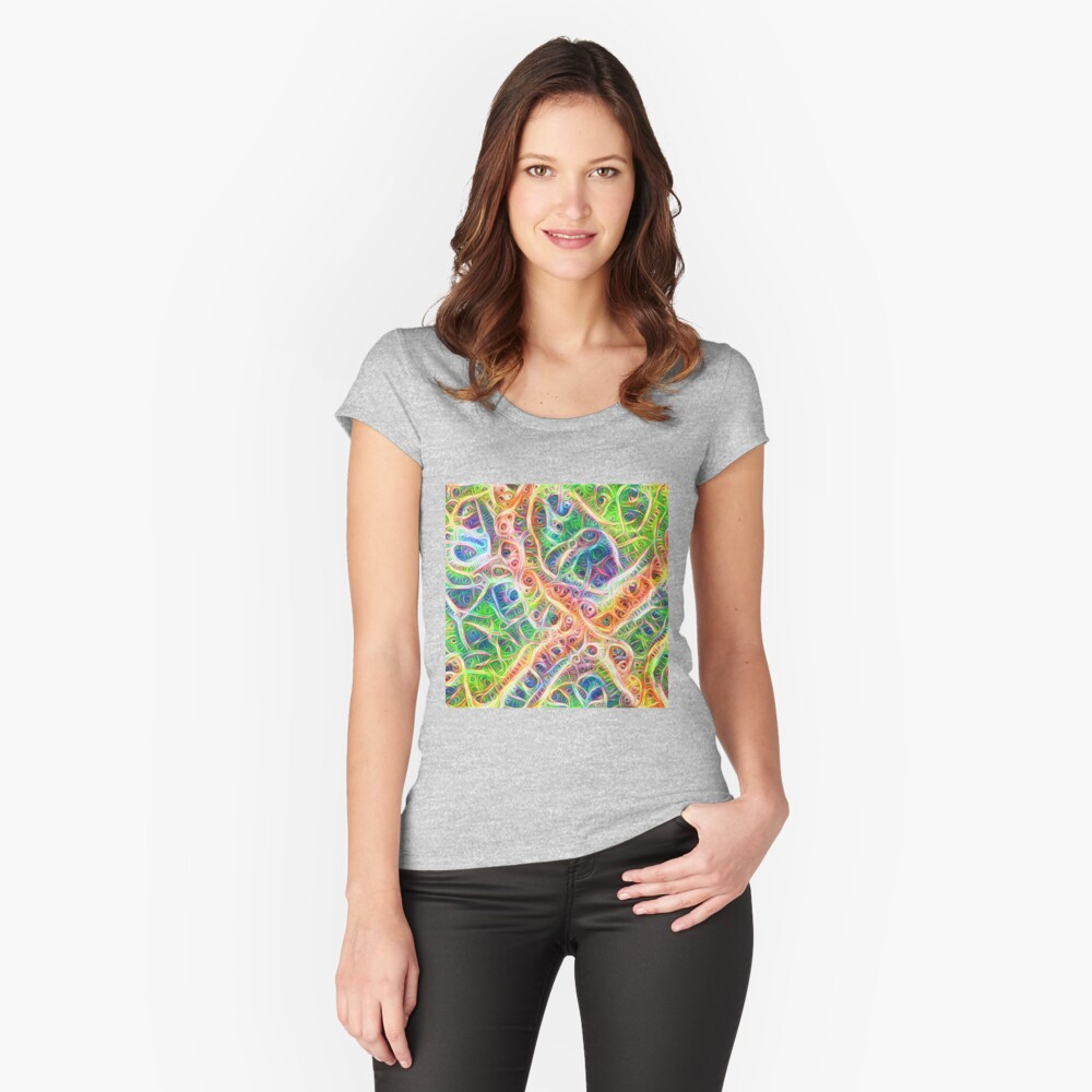 Neural network motif Fitted Scoop T-Shirt
