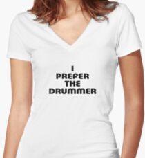Rock Shirt - I Prefer The Drummer - White Top Women's Fitted V-Neck T-Shirt