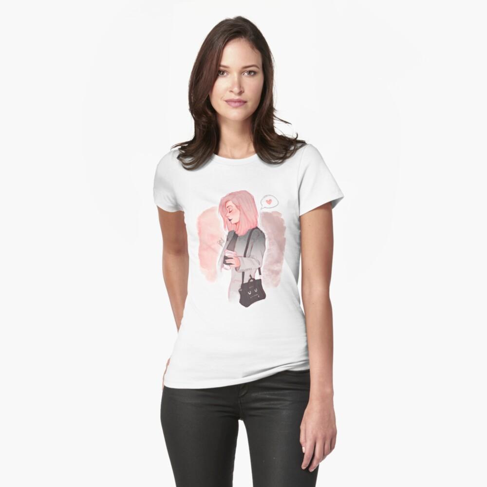 Kaffee Luv Tailliertes T-Shirt