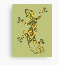 Lizard Tattoo Yellow Canvas Print