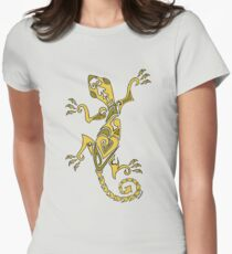 Lizard Tattoo Yellow Women's Fitted T-Shirt