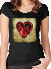 Vintage Steampunk Heart Women's Fitted Scoop T-Shirt