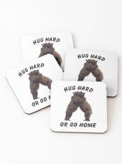 HUG HARD OR GO HOME (black) Coasters
