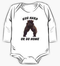 HUG HARD OR GO HOME (black) Long Sleeve Baby One-Piece