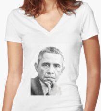 Barack Obama Women's Fitted V-Neck T-Shirt