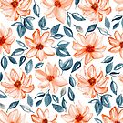 Orange & Navy Watercolor Floral  by TigaTiga