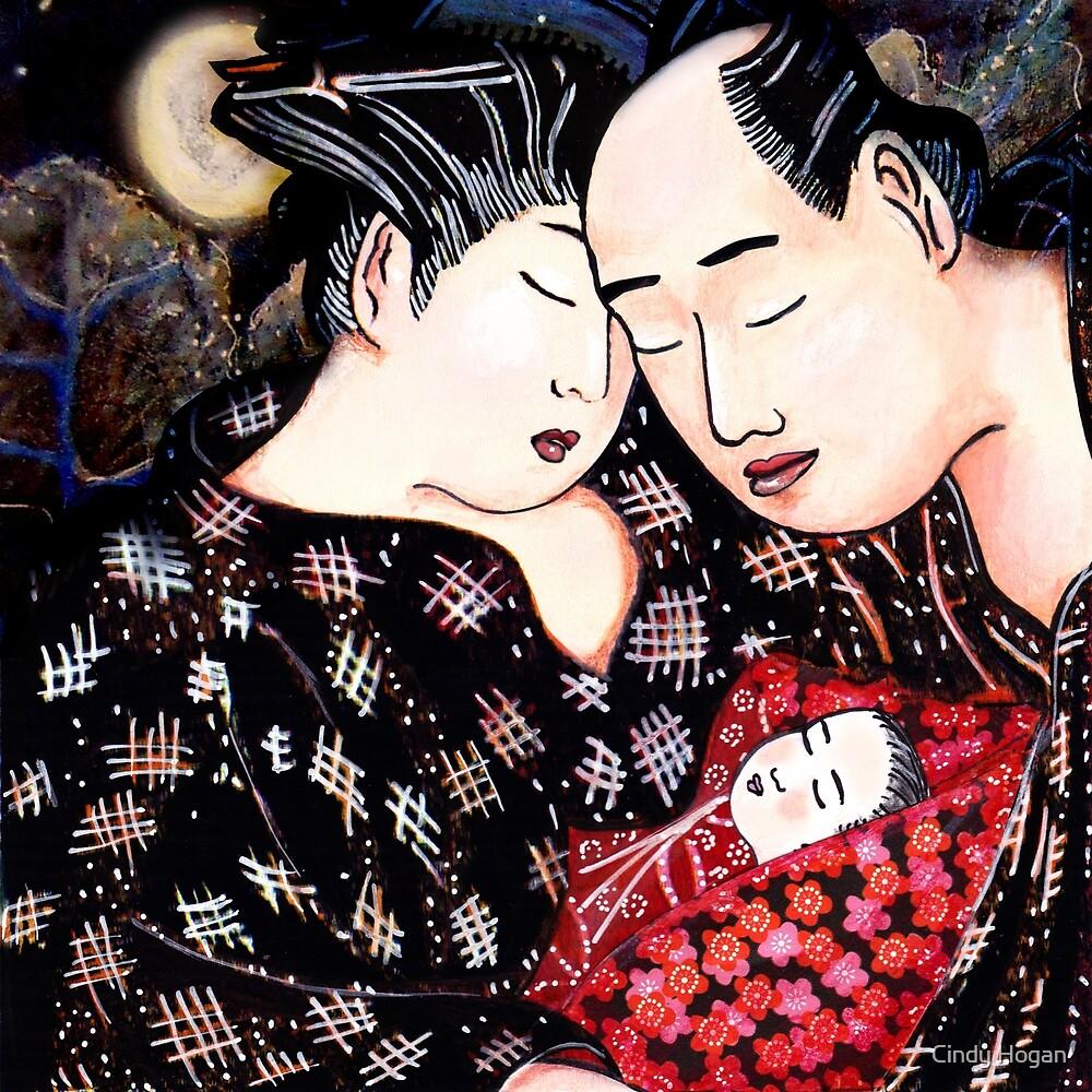 The Hokusai Family Has An Early Night by Cindy Hogan