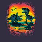 Triceratops vs T Rex Battleat Prehistoric Dawn  by MudgeStudios
