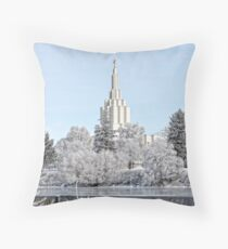 Mormon Temple - Idaho Falls Winter Scene Throw Pillow