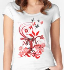 Floral tee with butterflies Women's Fitted Scoop T-Shirt