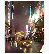 Times Square Taxi on a snowy night Poster