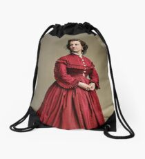 Pauline Cushman, actress and a spy for the Union in the Civil War. Made brevet Major by President Lincoln for her efforts in the war. 1865.  Drawstring Bag