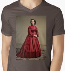 Pauline Cushman, actress and a spy for the Union in the Civil War. Made brevet Major by President Lincoln for her efforts in the war. 1865.  V-Neck T-Shirt