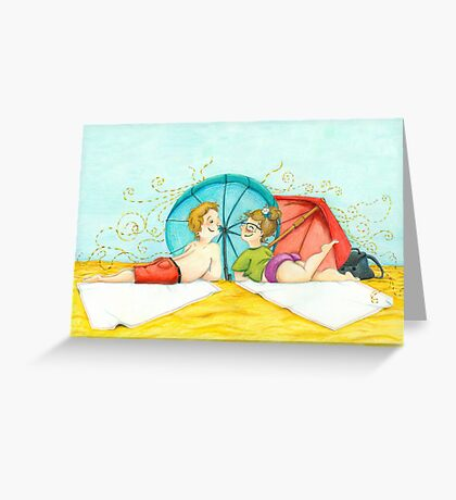 Boy and girl at the beach Greeting Card