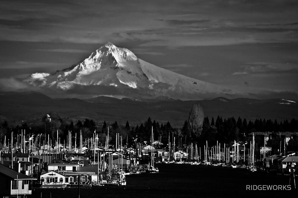 Mt. Hood Over Hayden Island 01 by RIDGEWORKS