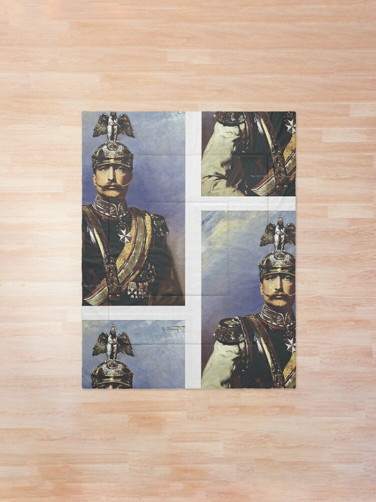 Alternate view of Kaiser Wilhelm II with Prussian Royal Guards helmet  Comforter