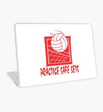 "Funny Volleyball ""Practice Safe Sets"" Laptop Skin"