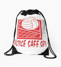 "Funny Volleyball ""Practice Safe Sets"" Drawstring Bag"