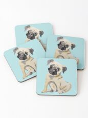 Pug Dog Illustration Coasters
