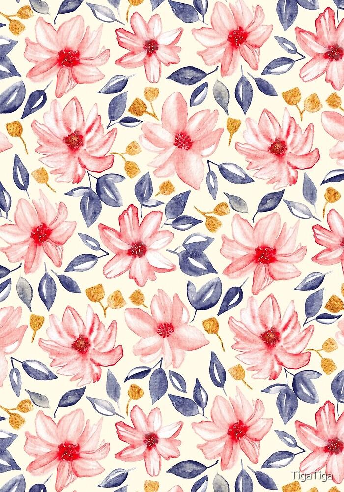Navy, Gold & Pink Watercolor Floral - Cream  by TigaTiga