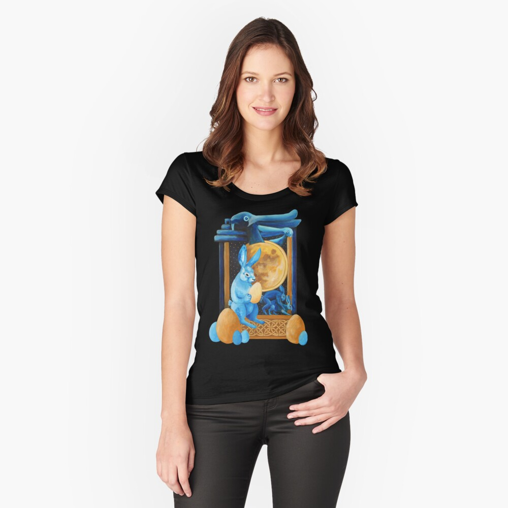 Lunar Rabbits and Hares Women's Fitted Scoop T-Shirt Front