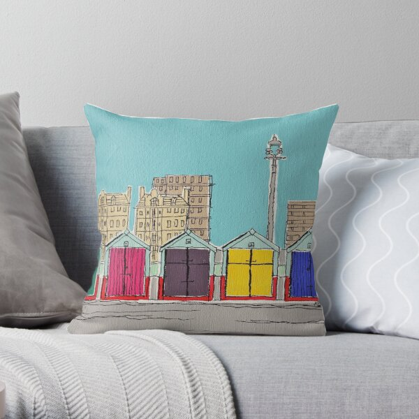 Hove Beach Huts Throw Pillow