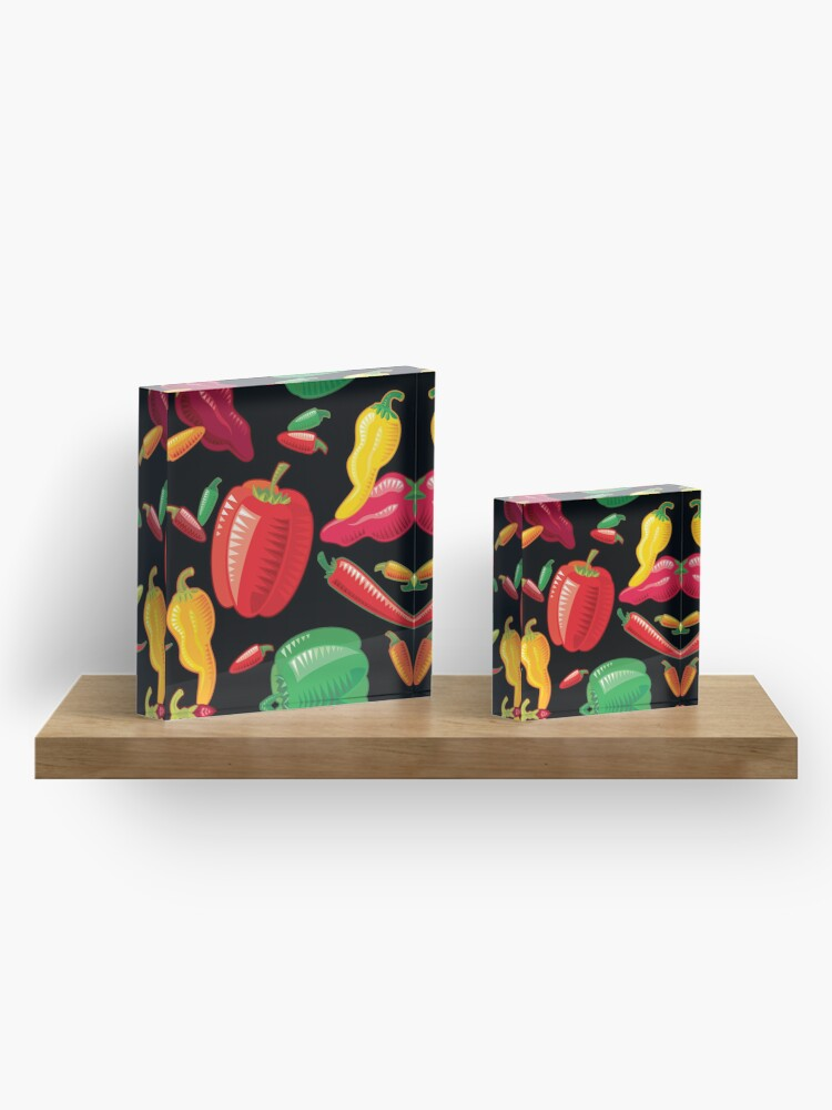 Alternate view of Hot Peppers Acrylic Block