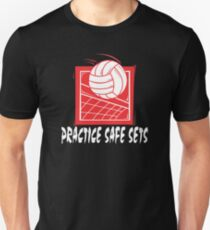 "Funny Volleyball ""Practice Safe Sets"" Dark Unisex T-Shirt"