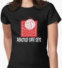 "Funny Volleyball ""Practice Safe Sets"" Dark Womens Fitted T-Shirt"