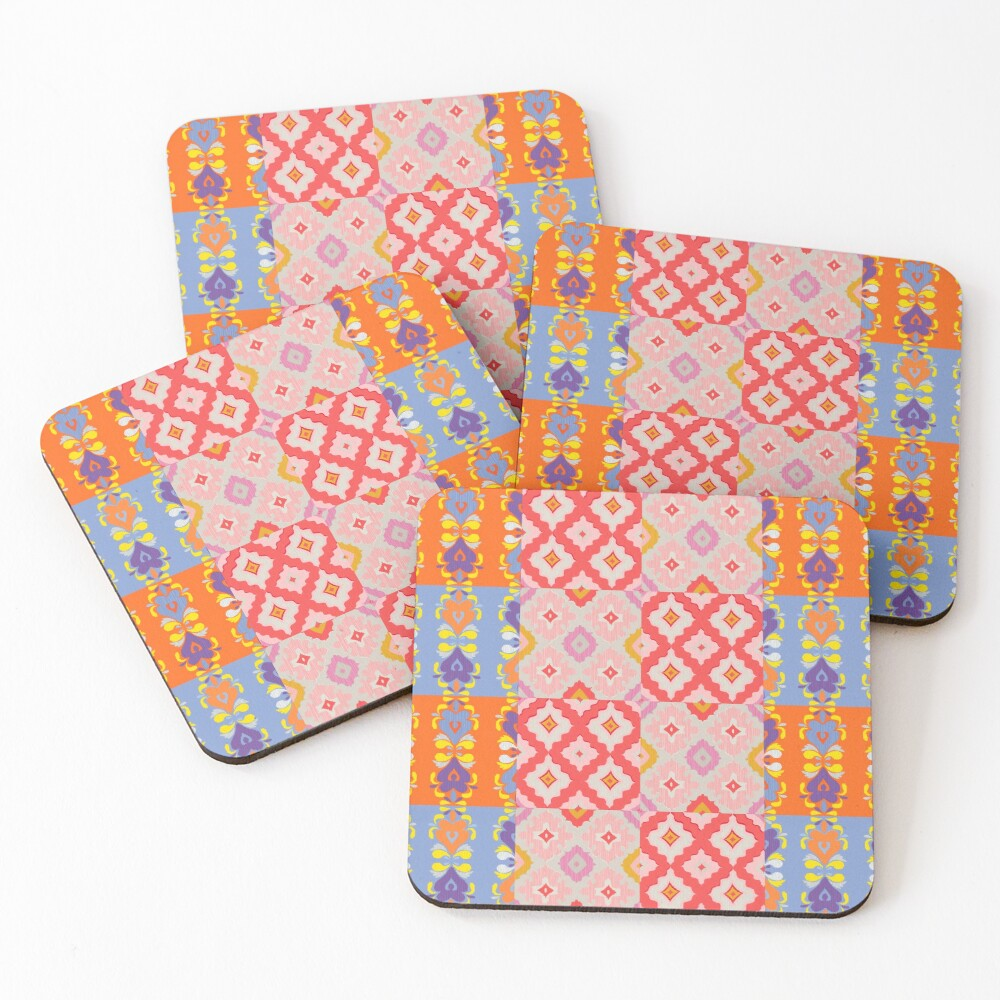 Decorative Ikat Pattern Coasters (Set of 4)
