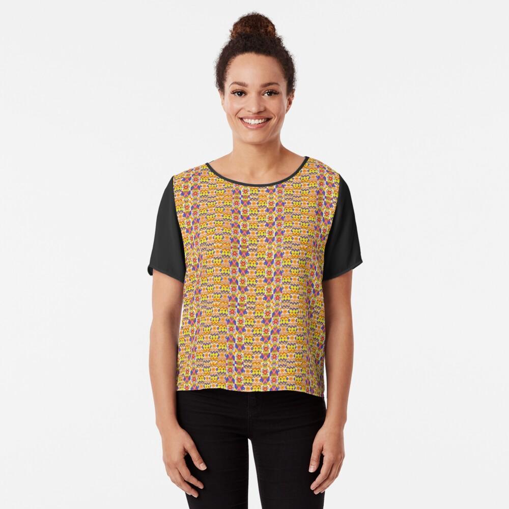 Decorative Ikat Pattern Chiffon Top